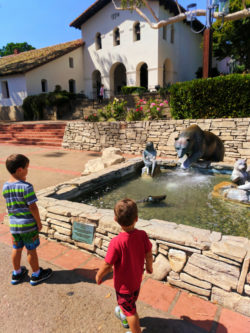 Taylor Family at fountain at Mission San Luis Obispo 1