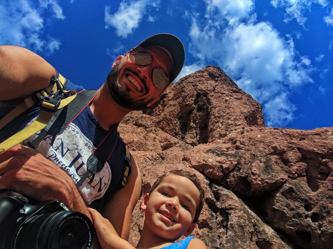 Taylor Family Hiking At Hole In The Rock At Papago Park