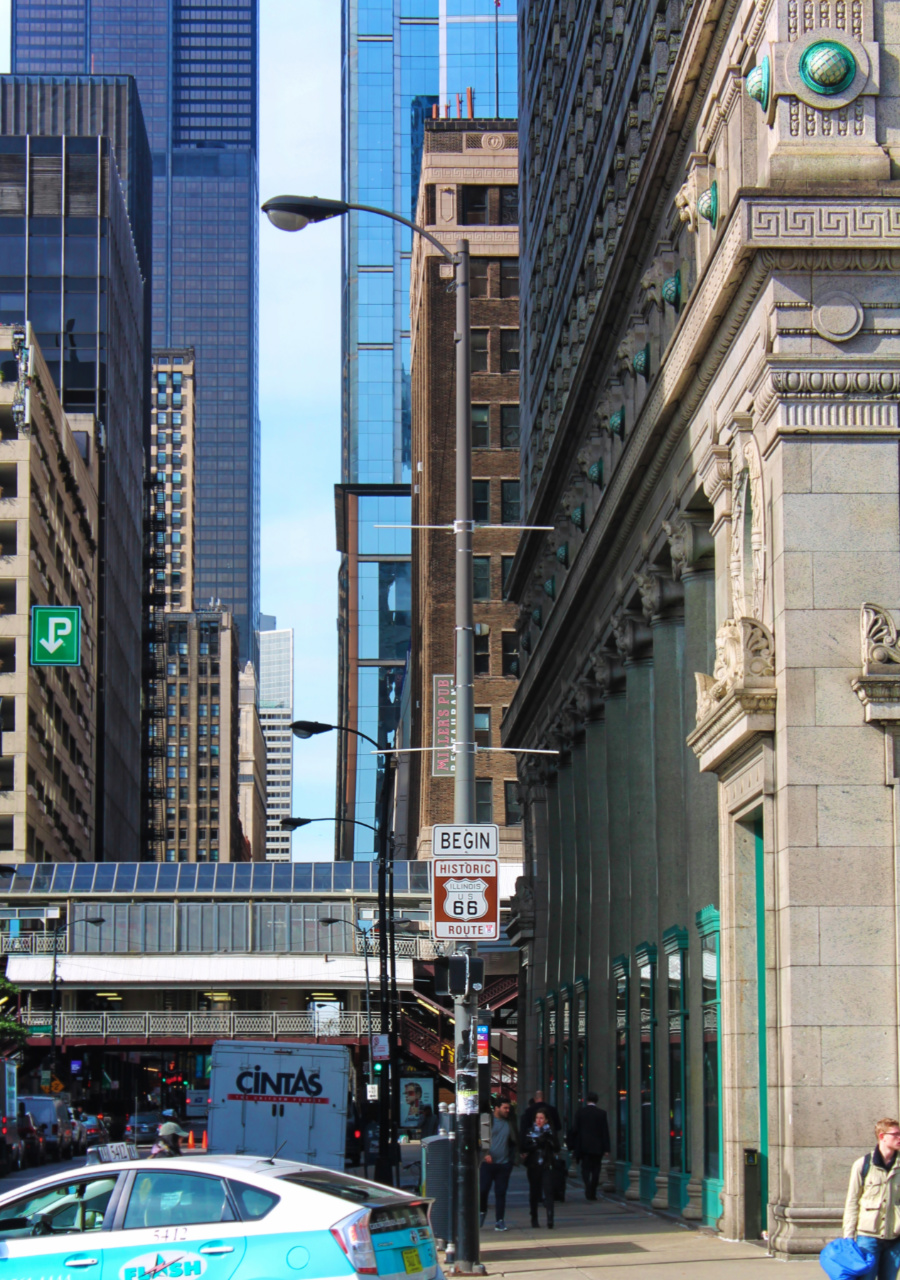 Begin Route 66 Sign Magnificent Mile Downtown Chicago 1