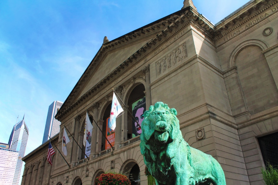 Bronze Lion at Art Institute of Chicago on Michigan Ave Magnificent Mile Downtown Chicago 2