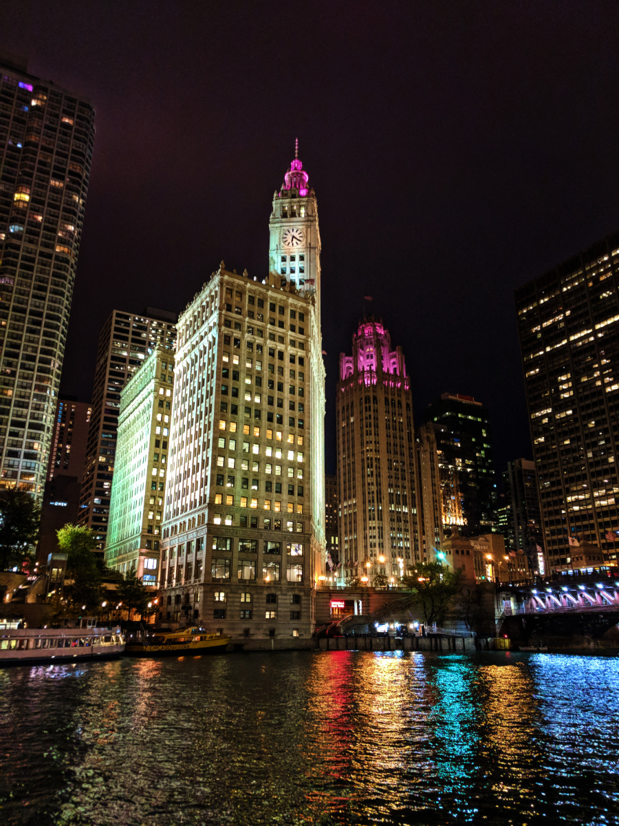 Colorful buildings on river at Night Downtown Chicago 2