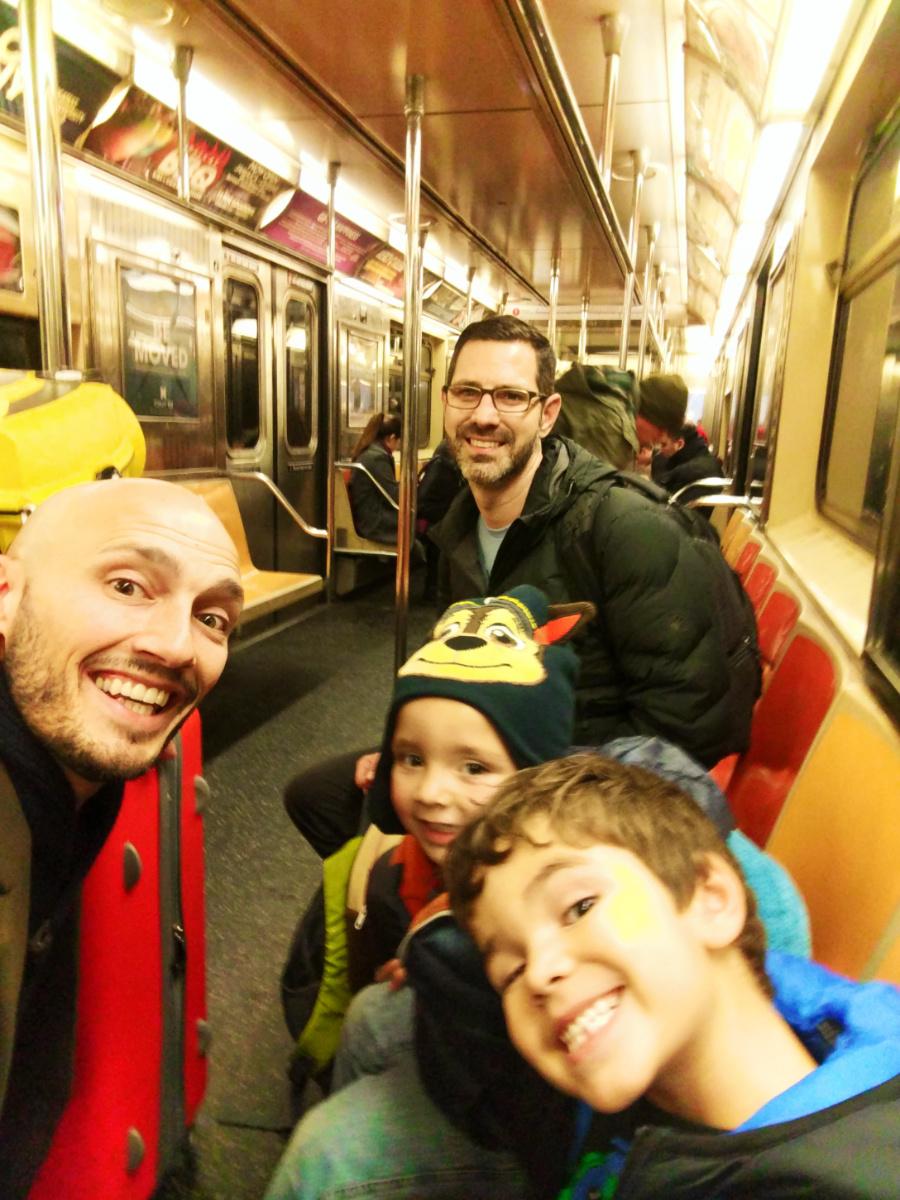 Taylor Family riding New York Subway