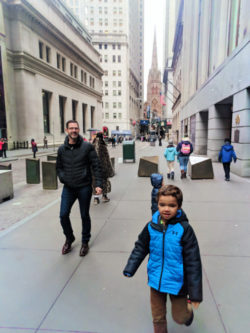 Taylor Family exploring Wall St NYC