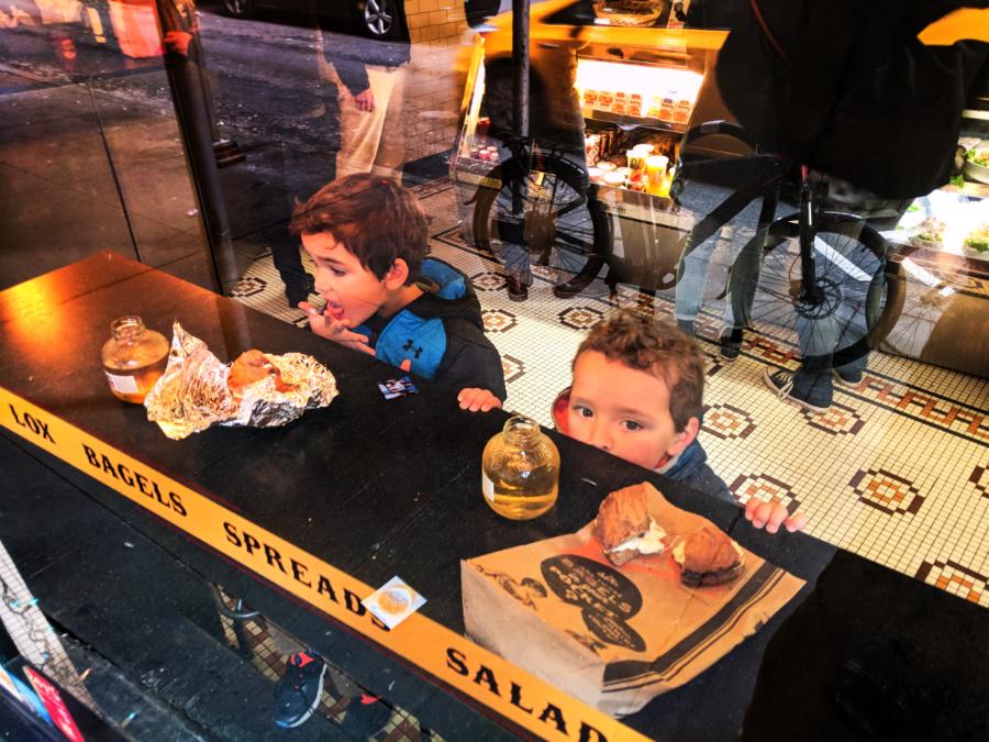 Taylor Family at Leos Bagels Wall St NYC
