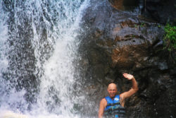 Taylor Family in waterfalls at Waimea Valley North Shore Oahu 11