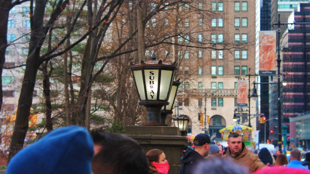 Cold Winter day at Subway entrance in Central Park New York City 2