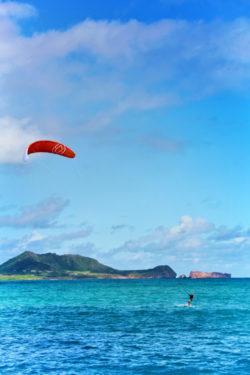 Kite Surfer at beach Lanikai Kailua Oahu 2