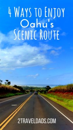 Taking the Scenic Route around Oahu is an exciting adventure with your family, hitting beaches, coves, jungles and great food. 2traveldads.com