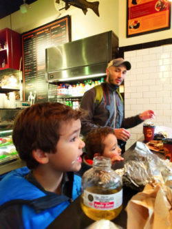 Taylor Family at Leos Bagels Lower Manhattan NYC 3