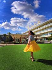Yellow dress at Thunderbird building Universal Cabana Bay Resort Orlando 1