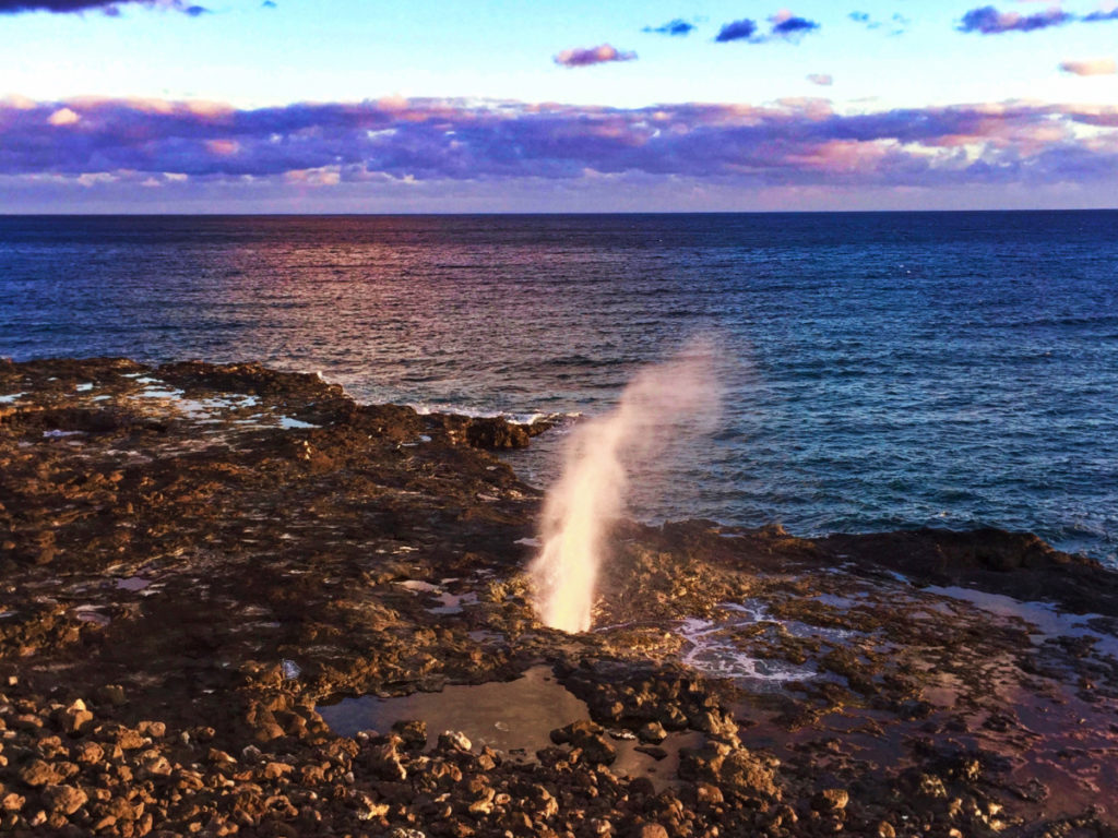 Spouting Horn sunset Kauai Hawaii 2