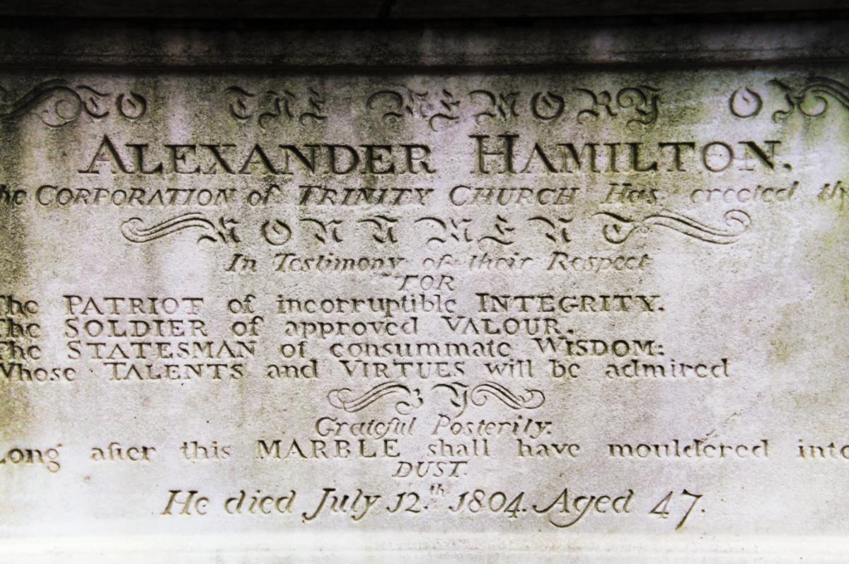 Alexander Hamiltons grave Trinity Church Graveyard Wall Street Lower Manhattan NYC 2