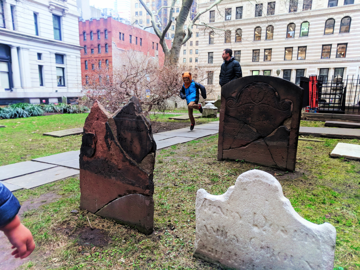 Taylor family at Trinity Church Graveyard Wall Street Lower Manhattan NYC 4