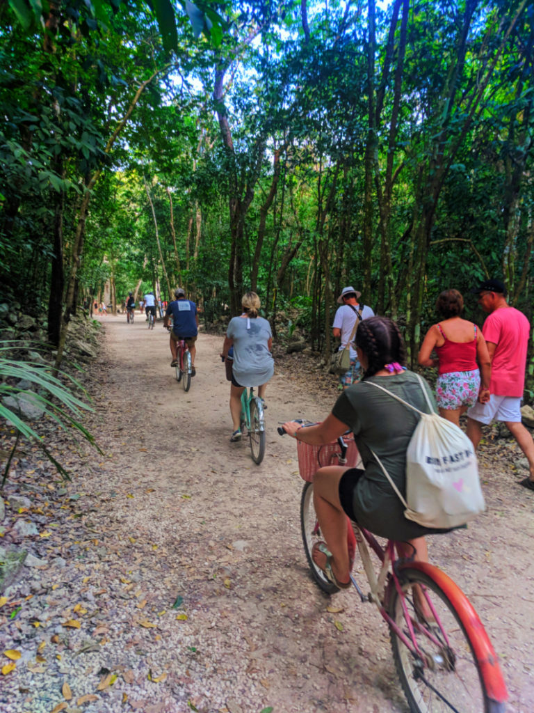 Biking to the great pyramid at the Coba Mayan Ruins Yucatan 1