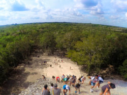 Visitors climbing the Coba Mayan Ruins Yucatan 2