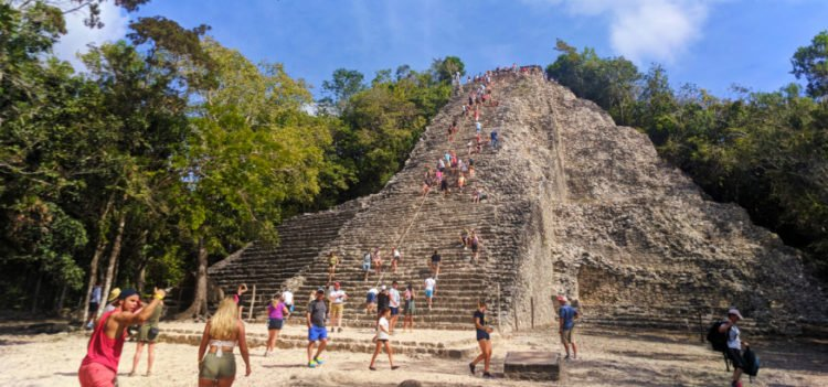 Climbing Nohoch Mul the Great pyramid at the Coba Mayan Ruins Yucatan 2