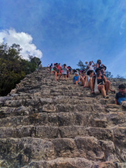 Climbing Nohoch Mul the Great pyramid at the Coba Mayan Ruins Yucatan 6