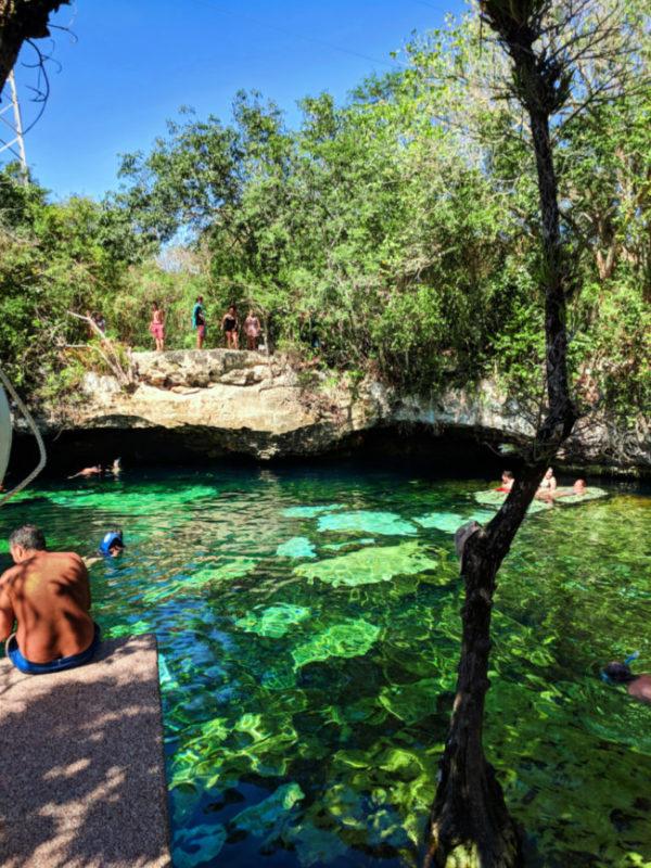 Colorful pool at Cenote Azul Tulum Yucatan 4