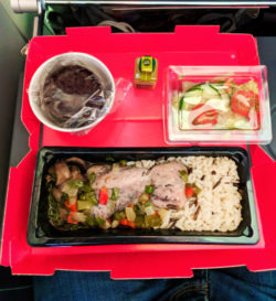 Chicken dinner on Norwegian Air to London
