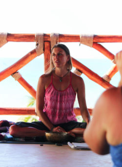 Jo Matson leading yoga retreat session Isla Holbox Yucatan 4