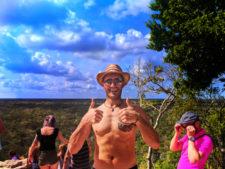 Rob Taylor at the top of the great pyramid at Coba Mayan Ruins Yucatan 1