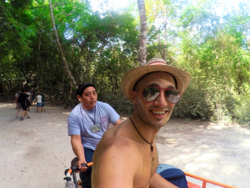 Rob Taylor on Bicitaxi to the great pyramid at the Coba Mayan Ruins Yucatan 1