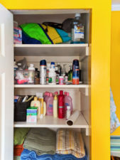 Safe Storage of Travel Products unpacked in Closet