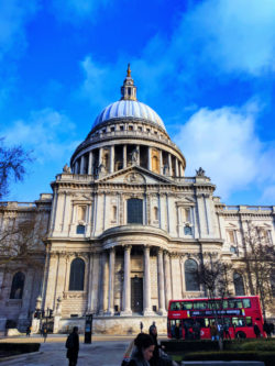 St Pauls Cathedral with red bus London UK 1