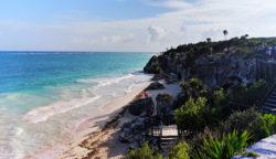Beaches and cliffs at Tulum Mayan Ruins National Park Yucatan 2