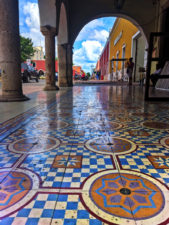 Colorful tile around town square in Valladolid Yucatan 2