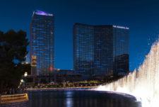 Bellagio fountains, beacon, night, exterior, property
