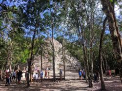 Hiking to the great pyramid at the Coba Mayan Ruins Yucatan 2