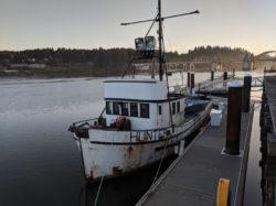 Old Fishing boat off Boardwalk Old Town Florence Oregon Coast