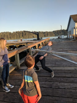 Taylor Family on Boardwalk Old Town Florence Oregon Coast