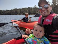 Taylor Family Kayaking at Honeyman State Park Oregon Coast