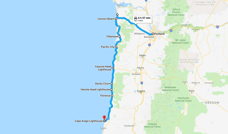 Lighthouses In Oregon Map.Oregon Coast Travel Journal From Portland To Coos Bay 2 Travel Dads
