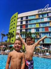 Taylor Family by pool at Universal Cabana Bay Resort Orlando Florida 15