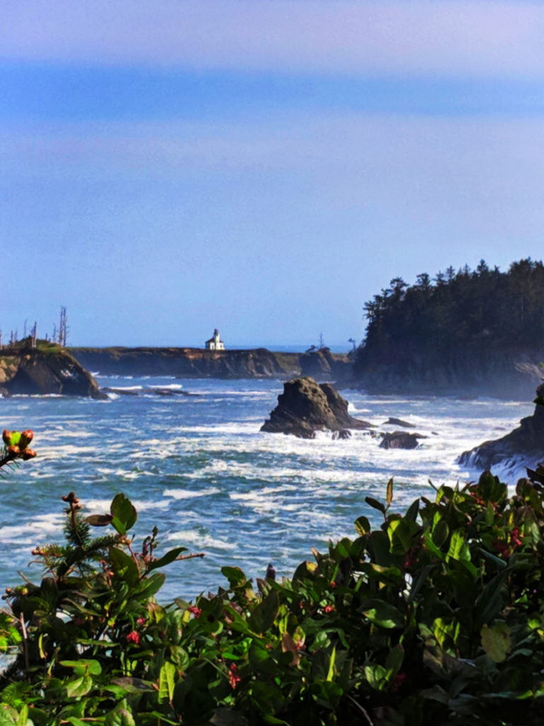 Cape Arago Lighthouse from Viewpoint Sunset Bay State Park Coos Bay Oregon Coast 1