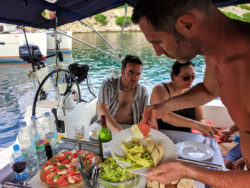 Caprese Salad lunch Pride Sailing Holidays sailboat off Vis Croatia
