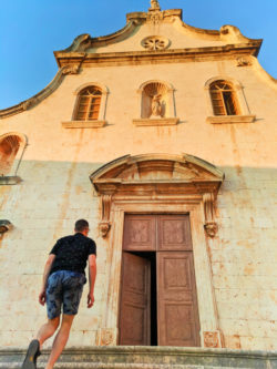 Chris Taylor at Church in port at Milna Brac Croatia 1