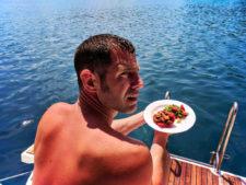 Chris Taylor eating luch Pride Sailing Holiday Korcula Croatia 1