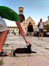 Chris Taylor petting cat by Belltower and cobblestone in Hvar Croatia 1