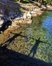 Chris and Rob Taylor Starfish Pose in port at Milna Brac Croatia 1