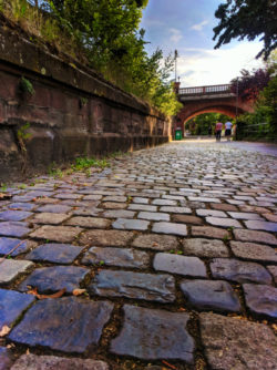 Cobblestone pathway along Main River Frankfurt Germany 1