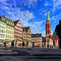 Colorful buildings in Romerberg Town Square Old Town Frankfurt Germany 2