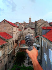 Goblet Drink at Massimo Cafe at sunset from turret in Old Town Korcula Croatia 1
