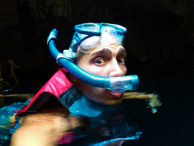 Rob Taylor snorkeling in cenote