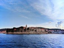 Sailing past city wall of Korcula Croatia 1