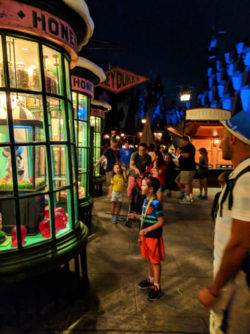 Taylor Family Casting Spells in Hogsmeade Wizarding World of Harry Potter Universal Islands of Adventure 2