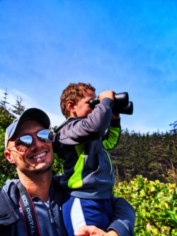 Taylor Family at Cape Arago Lighthouse from Viewpoint Sunset Bay State Park Coos Bay Oregon Coast 1